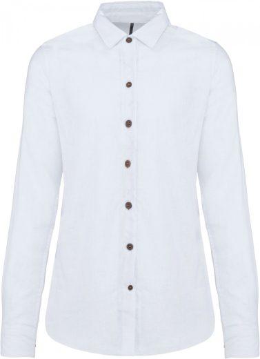 Lněná košile dámská dlouhý rukáv kontrastní knoflíky Kariban