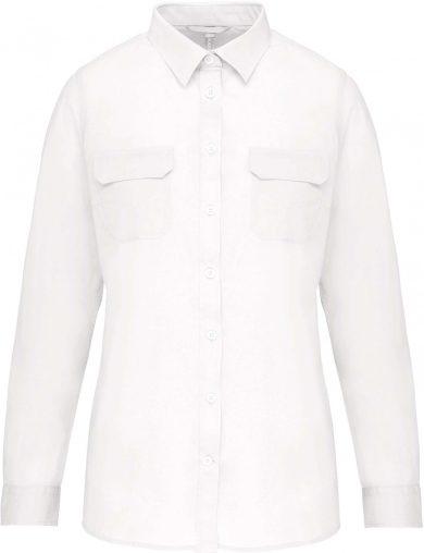 Dámská košile Safari 2 náprsní kapsy dlouhý rukáv 100% bavlna Popelín