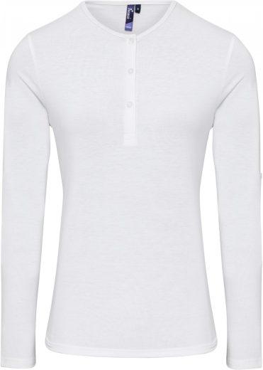Dámské strečové triko dlouhý rukáv zapínání 3 knoflíky bez límečku Premier