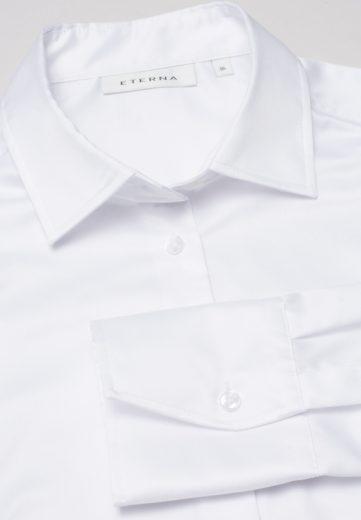 ETERNA Modern Classic dámská bílá neprosvítající halenka dlouhý rukáv rypsový kepr 100% bavlna Non Iron