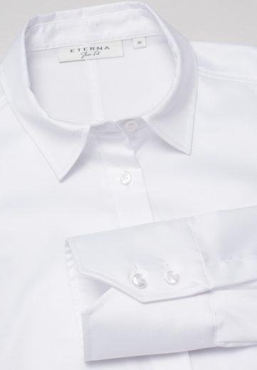 ETERNA Slim Fit dámská bílá neprosvítající halenka dlouhý rukáv rypsový kepr 100% bavlna Non Iron