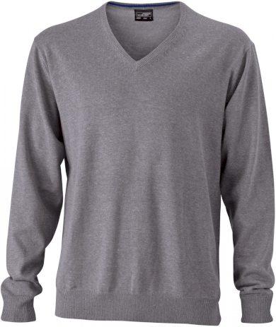 Pánský  bavlněný svetr s výstřihem do V James & Nicholson