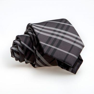 Károvaná kravata šedo černá slim