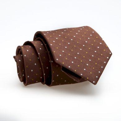 Luxusní hnědá kravata s puntíky