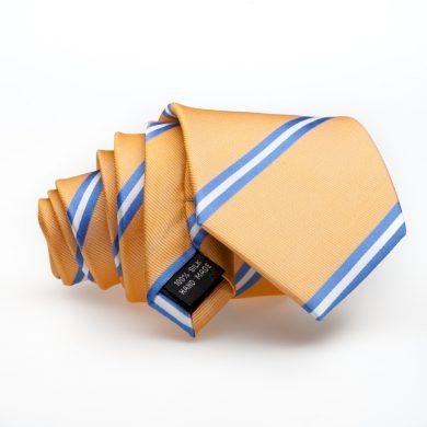Luxusní žlutá kravata s modrým a bílým proužkem