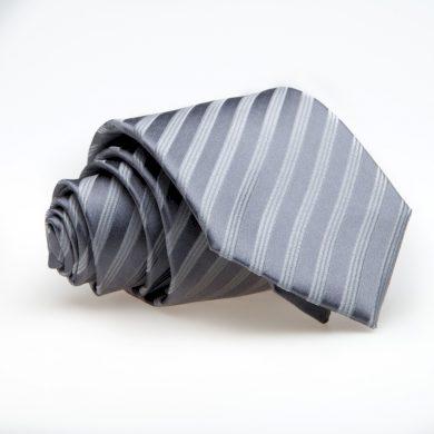 Svatební kravata z hedvábí šedá se stříbrným proužkem