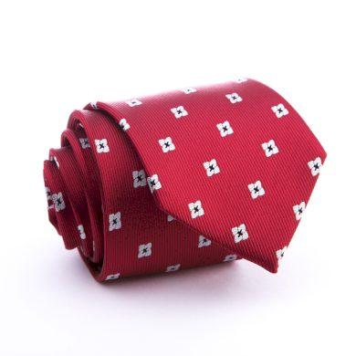 Cihlová - sytě červená - hedvábná kravata se vzorem