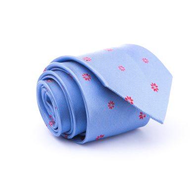 Světle modrá hedvábná kravata se vzorem