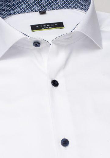 ETERNA Super Slim pánská strečová košile pro sportovce bílá s kontrastem