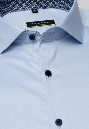 ETERNA Super Slim pánská strečová košile pro sportovce světle modrá s kontrastem