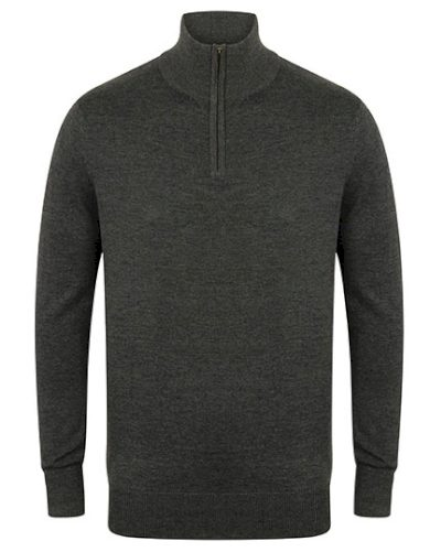 Pánský pletený svetr na zip se stojáčkem Henbury