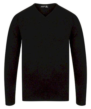 Pánský Regular fit vlněný pulovr výstřih do V Henbury
