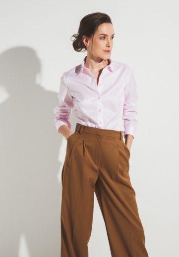 Dámská slim fit neprosvítající růžová NON IRON košile s dlouhým rukávem ETERNA 100% bavlna