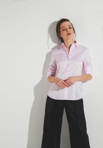 Dámská růžová neprosvítající košile s dlouhým rukávem ETERNA rypsový kepr 100% bavlna NON IRON