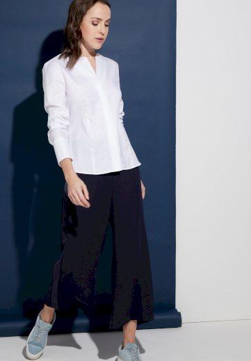 Dámská bílá žakárovaná blůza ETERNA s dlouhým rukávem 100% bavlna easy iron