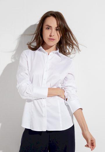 Dámská bílá strukturovaná blůza ETERNA s dlouhým rukávem 100% bavlna easy iron