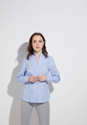 Dámská modrá košile s bílými puntíky ETERNA dlouhý rukáv 100% bavlna easy care