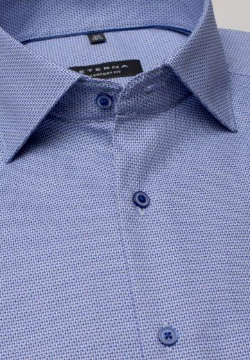 ETERNA Slim Fit pánská modrá košile jemná struktura Non Iron