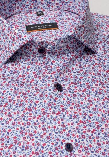 ETERNA Slim Fit košile dlouhý rukáv 100% bavlna Non Iron červeno modrý květinový vzor