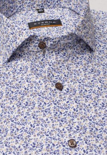 ETERNA Slim Fit košile dlouhý rukáv 100% bavlna Non Iron modro okrový květinový vzor
