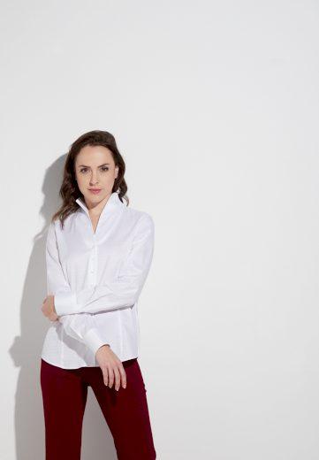Dámská bílá strukturovaná blůza s dlouhým rukávem ETERNA 100% bavlna easy care