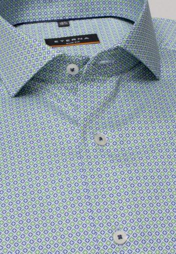 ETERNA Slim Fit pánská košile casual styl zeleno modrá dlouhý rukáv Non Iron