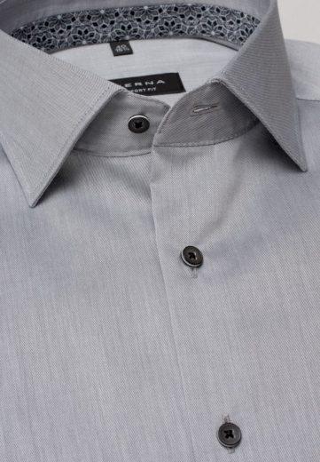ETERNA Slim Fit unikátní omyvatelná světle šedá košile Rypsový kepr Non Iron Lotus