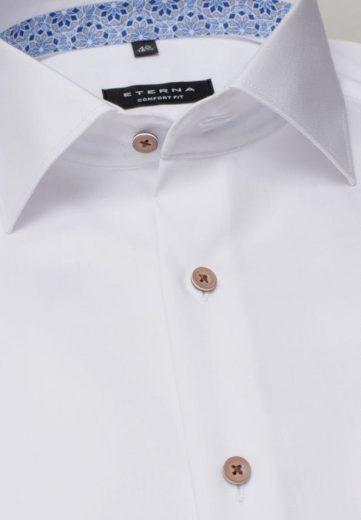 ETERNA Slim Fit unikátní omyvatelná bílá košile s kontrastem Rypsový kepr Non Iron Lotus
