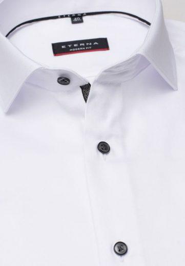 ETERNA Modern Fit pánská košile bílá neprosvítající s černými knoflíčky Non iron