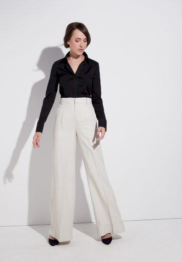 Dámská nežehlivá černá blůza s dlouhým rukávem ETERNA 95% bavlna 5% elastan