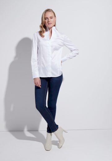 Elegantní dámská bílá halenka s dlouhým rukávem ETERNA 95% bavlna 5% elastan easy iron