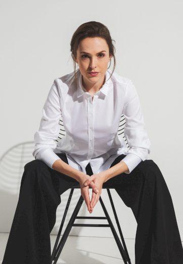 Dámská slim fit bílá blůza s dlouhým rukávem ETERNA 95% bavlna 5% elastan easy iron