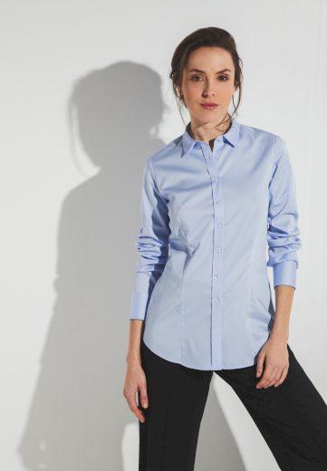 Dámská modrá slim fit halenka s dlouhým rukávem ETERNA 95% bavlna 5% elastan  easy iron