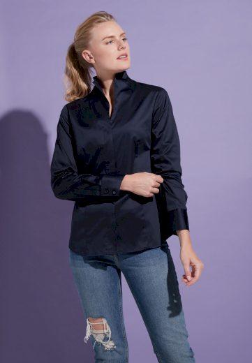 Elegantní dámská tmavě modrá halenka ETERNA  95% bavlna 5% elastan easy iron