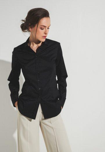 Nadčasová dámská černá halenka s dlouhým rukávem ETERNA 95% bavlna 5% elastan easy iron