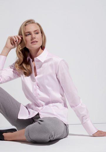 Dámská elegantní růžová halenka ETERNA s dlouhým rukávem 95% bavlna 5% elastan easy iron
