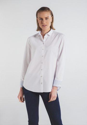 Dámská bílá upcyklovaná blůza s dlouhým rukávem ETERNA 70% bavlna 30% lyocell