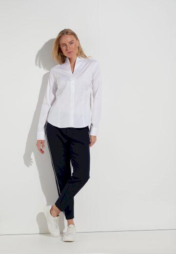 Dámská bílá slim fit košile s dlouhým rukávem ETERNA otevřený límec 95% eterna 5% elastan easy iron
