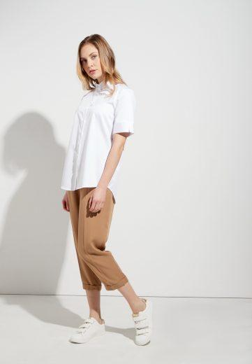 Moderní dámská bílá košile s krátkým rukávem ETERNA 95% bavlna 5% elastan easy iron
