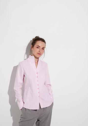 Dámská růžová žakárová košile s dlouhým rukávem ETERNA 100% bavlna easy iron