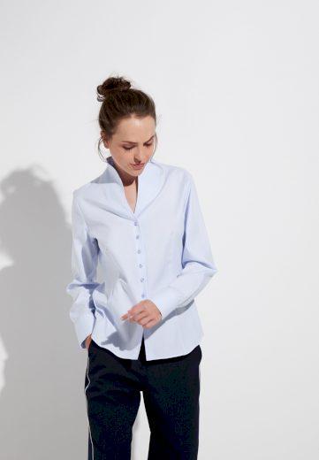 Dámská žakárová modrá košile s dlouhým rukávem ETERNA 100% bavlna easy iron