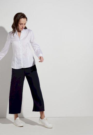 Dámská moderní bílá halenka s modrými puntíky dlouhý rukáv ETERNA 100% bavlna easy iron