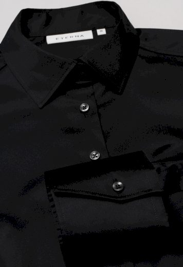 Elegantní dámská černá blůza ETERNA s dlouhým rukávem 95% bavlna 5% elastan easy iron
