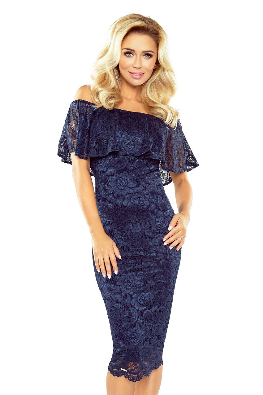 Tmavě modré krajkové šaty model 5352604