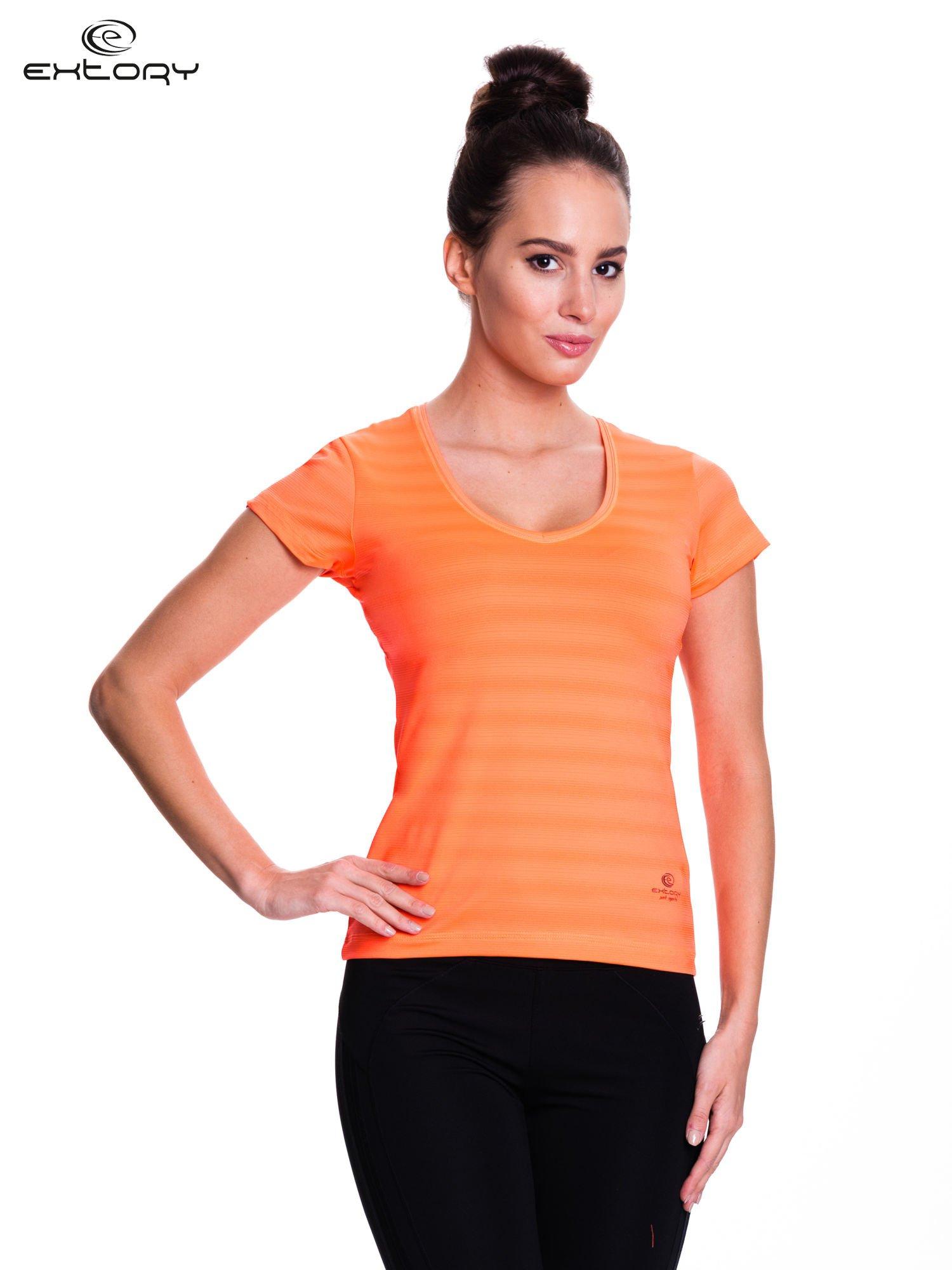 Fluorescenční oranžové pruhované sportovní tričko pro ženy