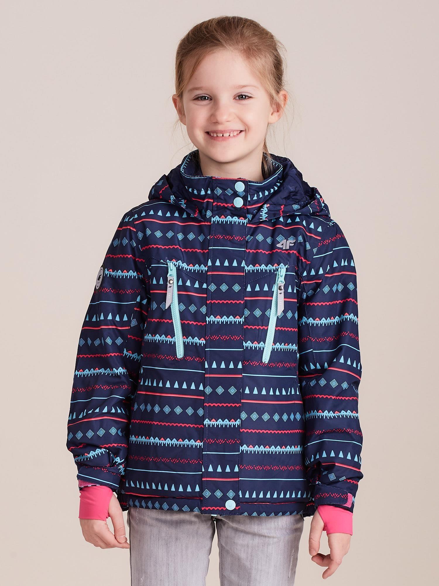 Tmavě modrá lyžařská bunda se vzorem 4F pro dívky