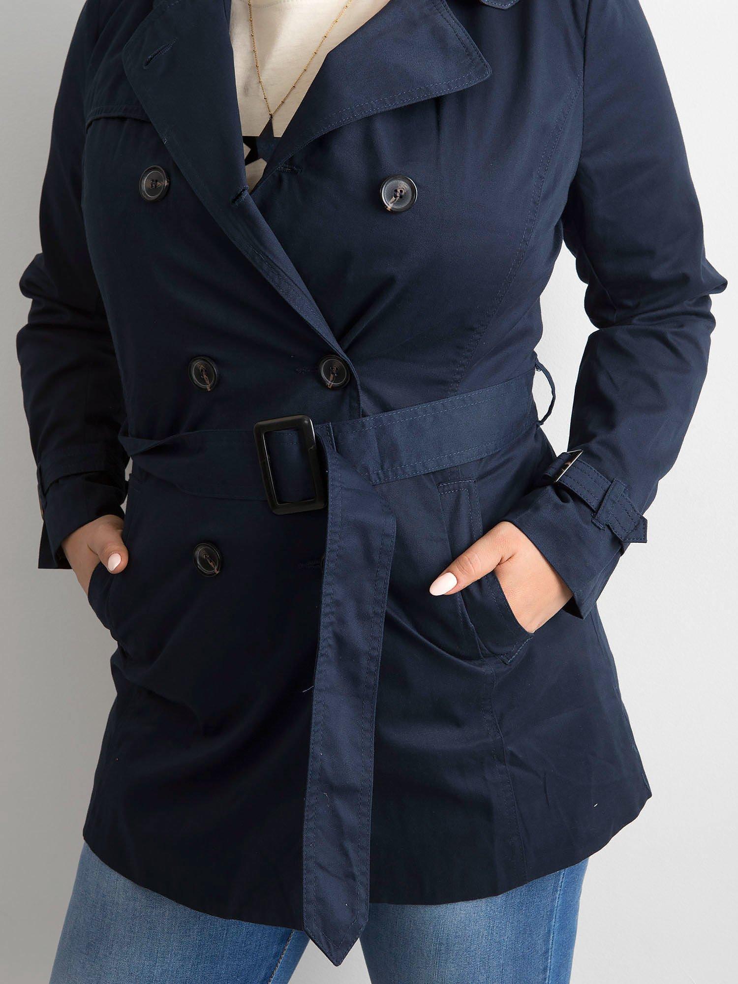 Tmavě modrý dámský trenčkot s páskem