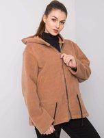 Béžový kabát s kapucí