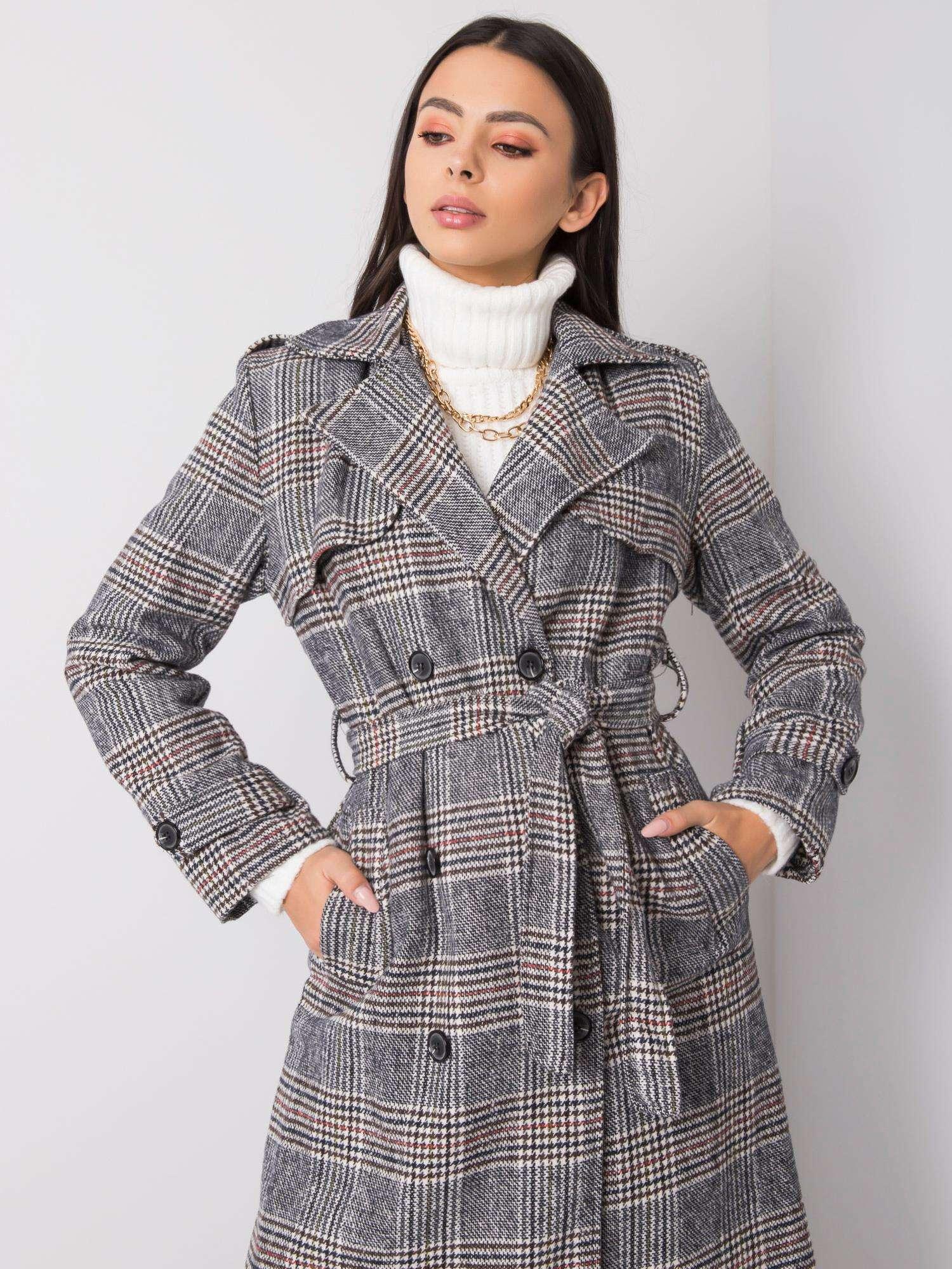 Šedý kostkovaný dvouřadový kabát