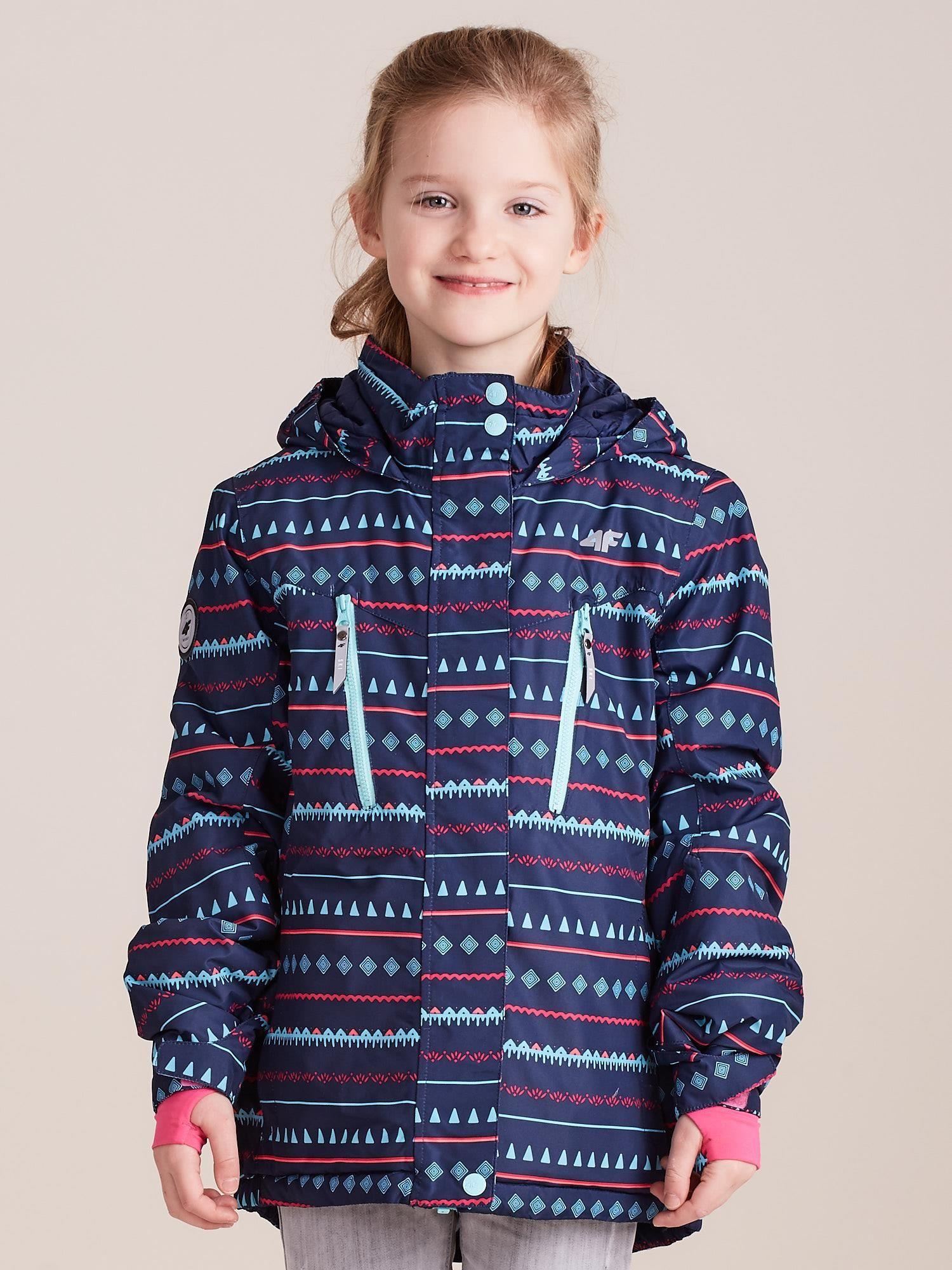 Dívčí vzorovaná lyžařská bunda, tmavě modrá 4F